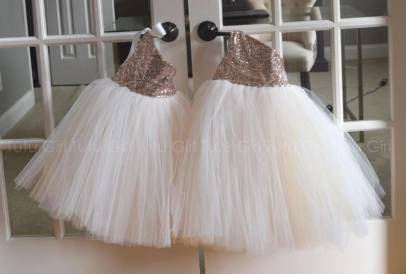 895ce2ef075 Tutu Flower Girl Dresses Ivory and Champagne Tulle with Rose