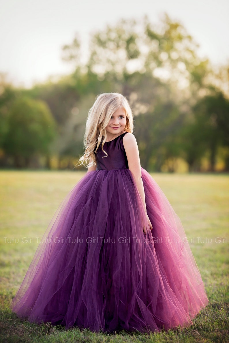 5f89ebe4e23 Purple Flower Girl Dress Plum Tutu Dress Eggplant Tulle Dress