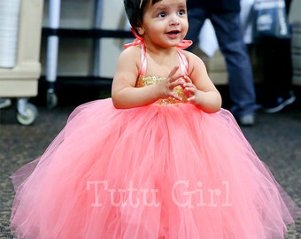 Coral Gold Sequin Girls Dress, Coral Gold Flower Girl Tutu Dress, Gold Sequin Toddler Dress Coral Skirt, Baby Tutu Dress, Birthday Dress