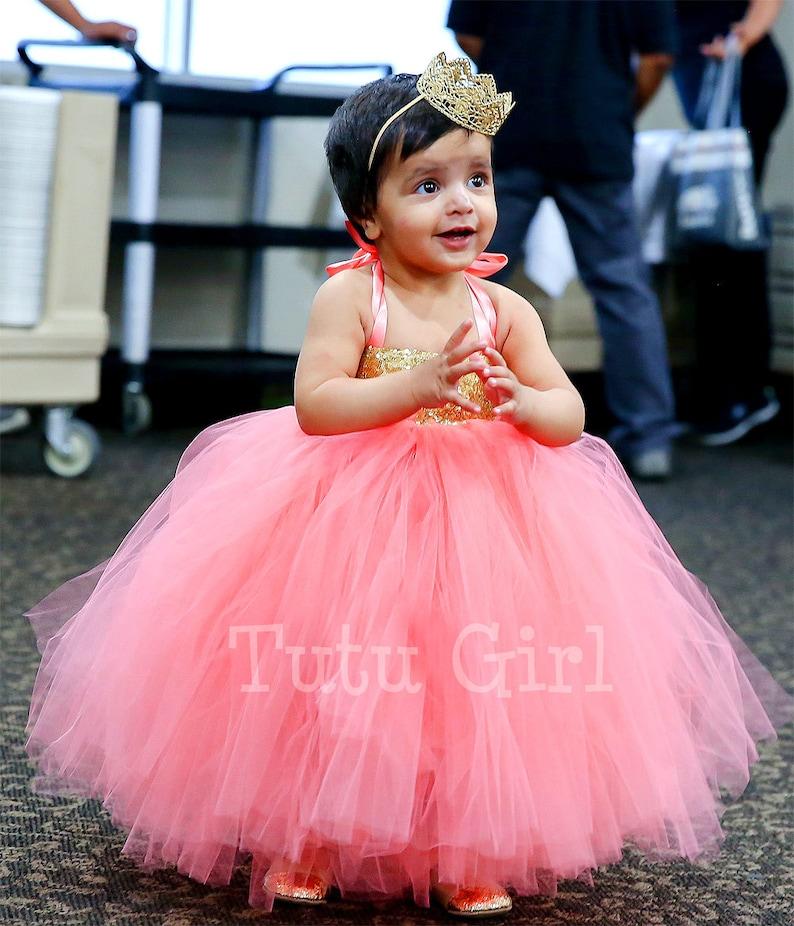 c28236401c6f Coral Gold Sequin Girls Dress Coral Gold Flower Girl Tutu | Etsy