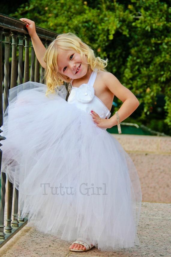 White flower girl tutu dress white tutu flower girl dress etsy image 0 mightylinksfo