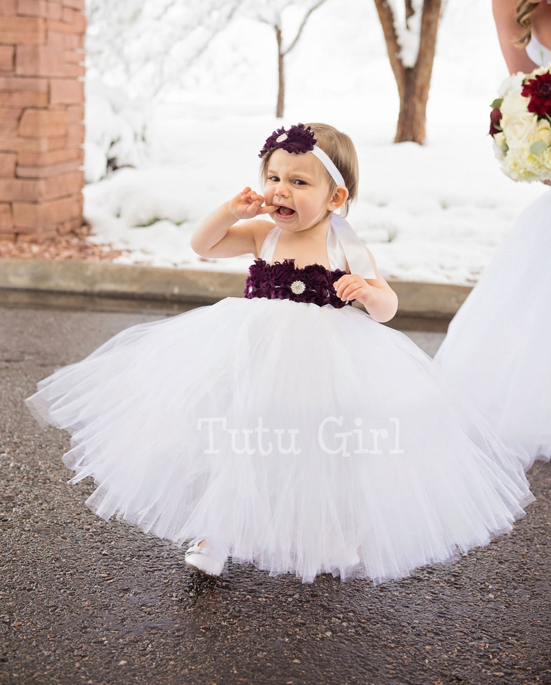 aec4f2b5854 Eggplant Flower Girl Dress White and Eggplant Tulle Dress