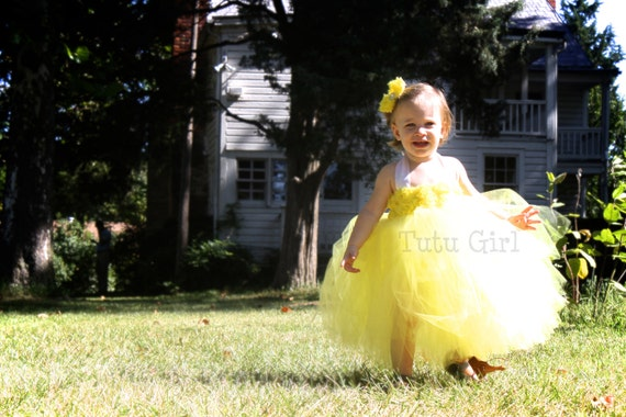Yellow Tutu Dress, Flower Girl Dress Lemon Yellow, Toddler Girls Yellow Dress, Toddlers, Baby, All Sizes