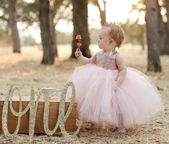 Blush Pink Flower Girl Dress, Custom Tulle Dress, Rose Gold Sequins with Tutu Skirt