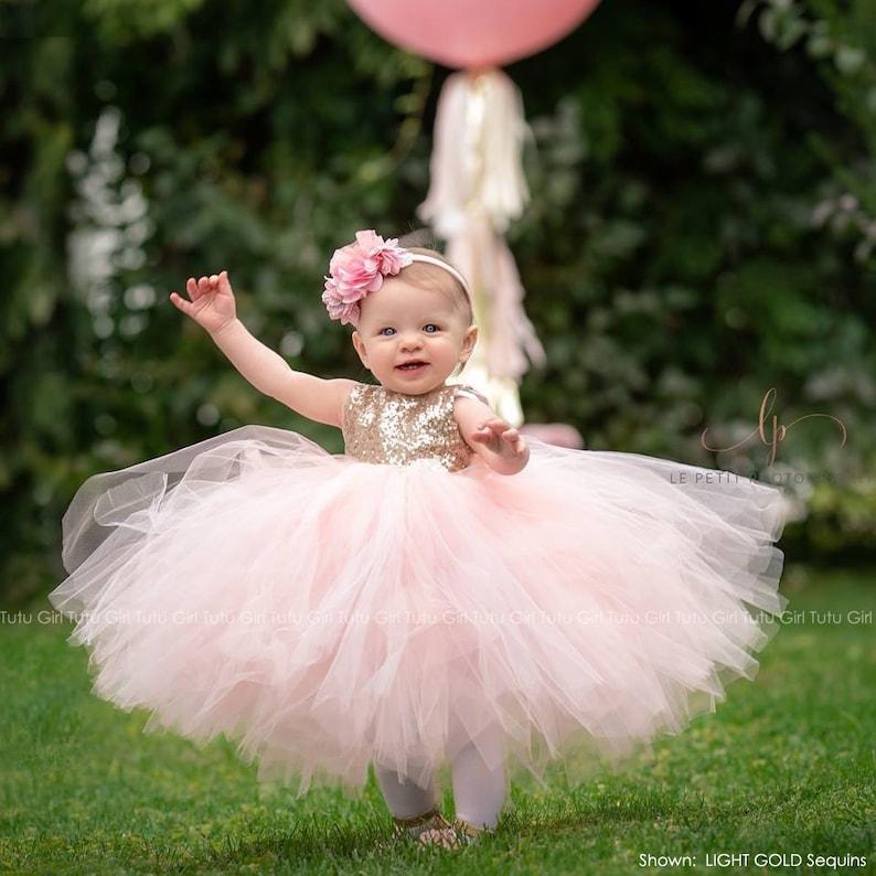 5c4ff9b554 Flower Girl Dress Gold Sequin Flower Girl Dress Pink Blush