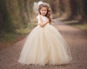 Lace Flower Girl Dress Ivory Lace Flower Girl Dress with Champagne Tutu Style One Strap Off the Shoulder Tulle Dress for Girls