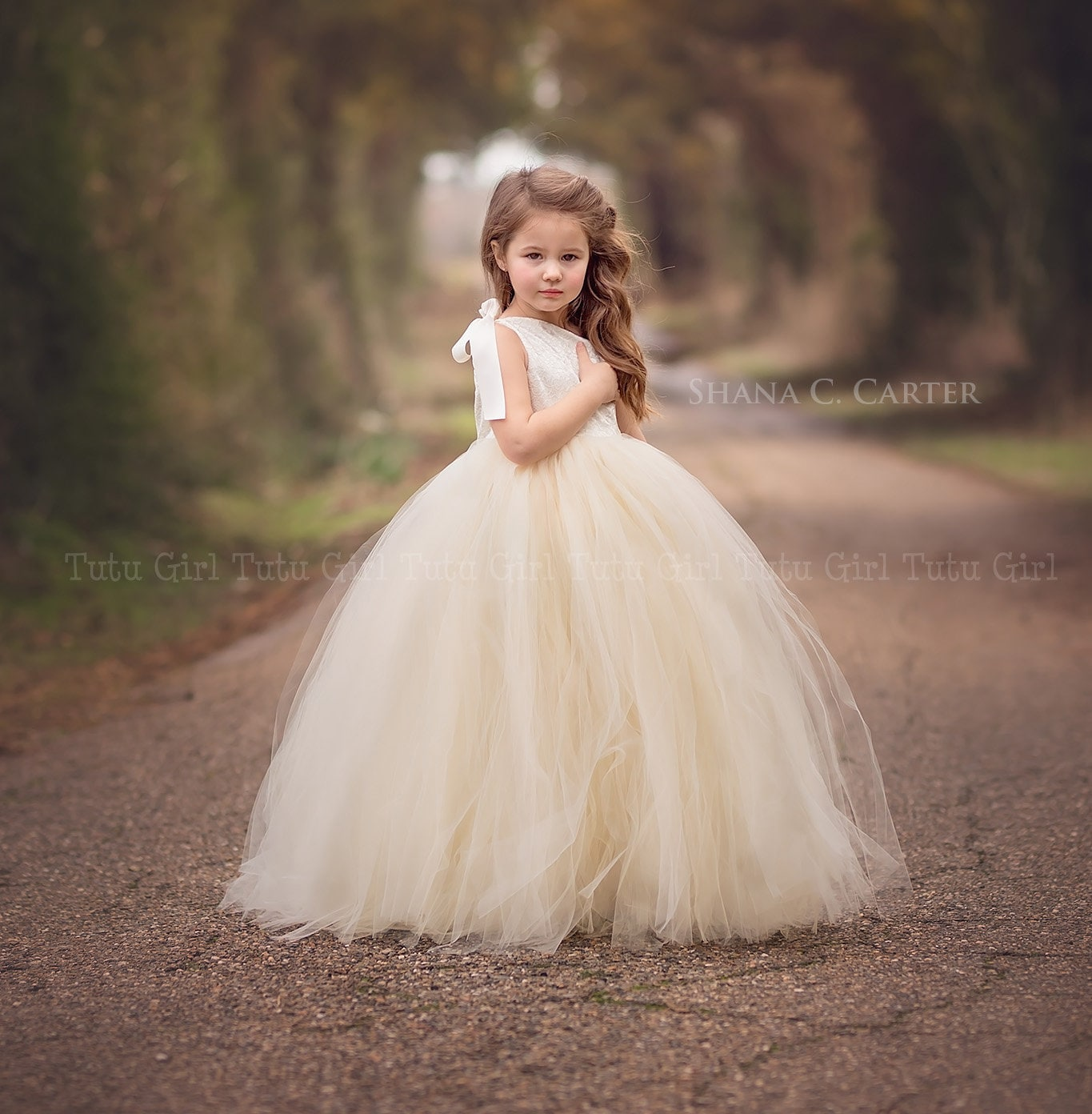 57f8e0ceb3f3f Lace Flower Girl Dress Ivory Lace Flower Girl Dress with Champagne Tutu  Style One Strap Off the Shoulder Tulle Dress for Girls