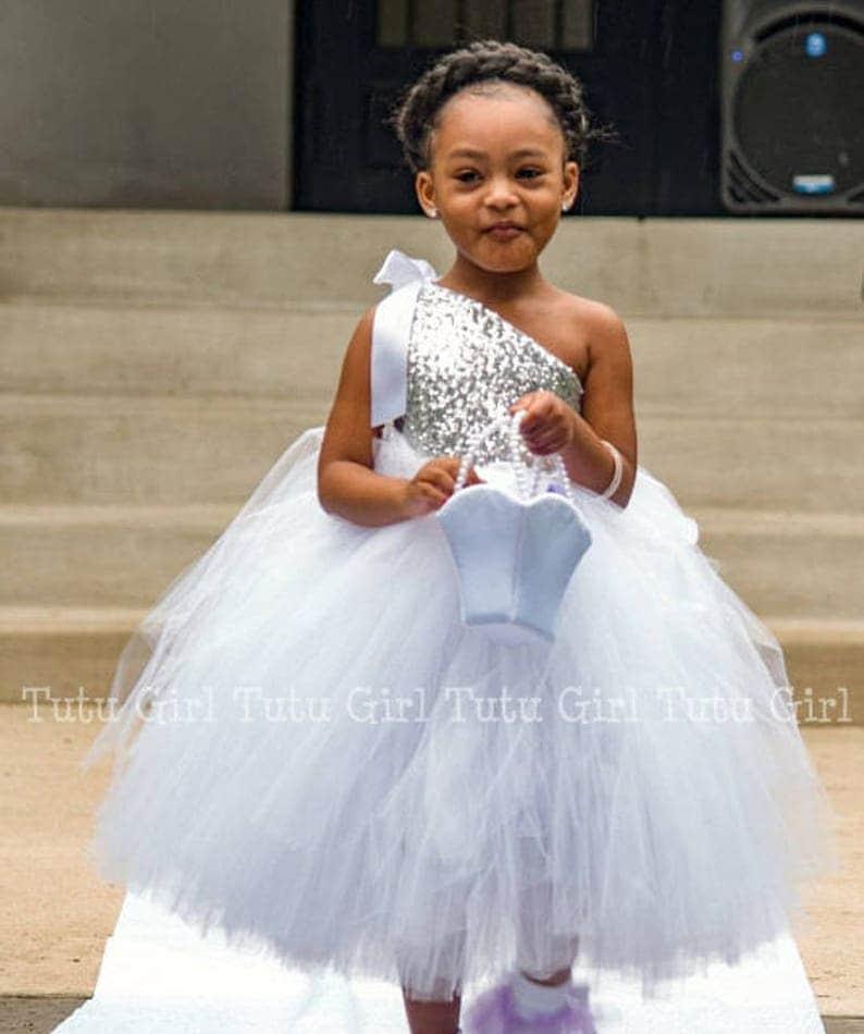 533d619877a Silver Tutu Dress Silver Sequin Flower Girl Dress Choose