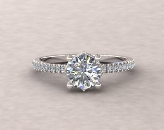 43e13a8890b Bague de fiançailles diamant - 6mm diamant Solitaire « Lola » bague ronde  avec de vrais diamants - par Laurie Sarah - LS5713