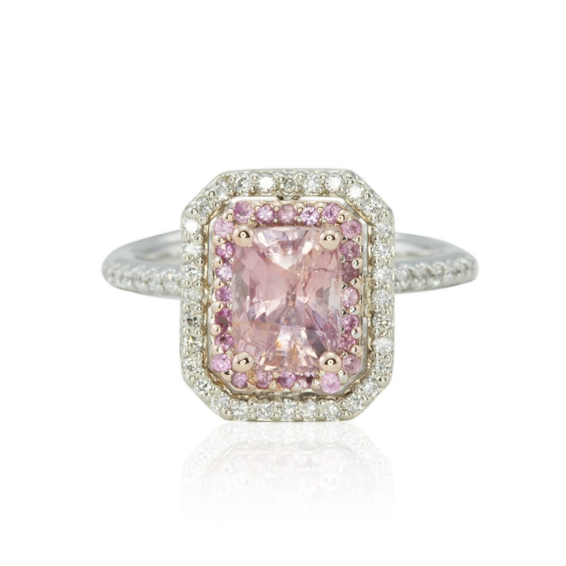 Pink Sapphire And Diamond Double Halo Engagement Ring In 14k White And Rose Gold Rectangular Cushion Cut Harper Collection Ls1862