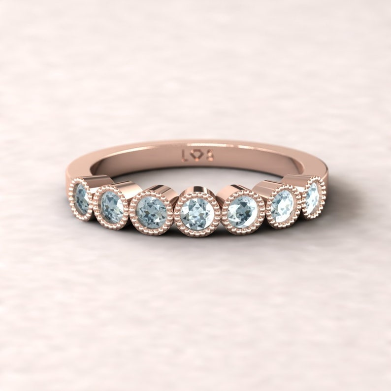 7 Stone Band with Metal and 2.5mm Birthstones of Choice LS5362 By Laurie Sarah Birthstone Bubble Band