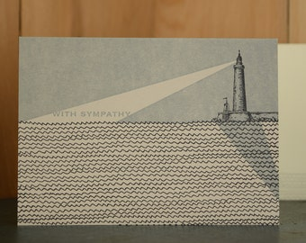 Lighthouse Sympathy - letterpress sympathy card