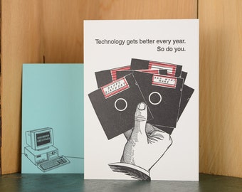 Floppy Disk - letterpress birthday card