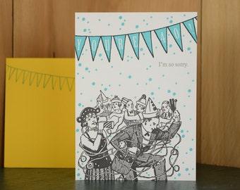 Sorry 40 - letterpress birthday card