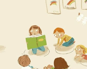Kinder Collection - Heather Ross Fabric - Half yard Kindergarten in Off White