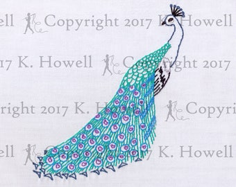 Peacock Hand Embroidery Pattern Bird PDF   Etsy