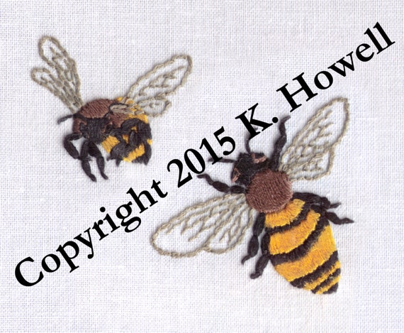 Bee Hand Embroidery Pattern Bees Honey Bee Bumble Bee Etsy