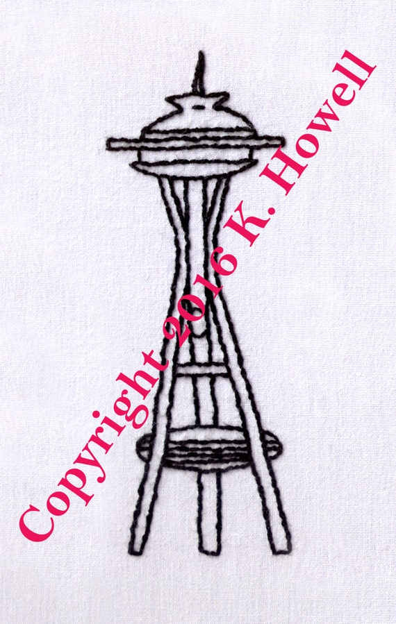 space needle hand embroidery pattern seattle space needle etsy