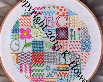 Sampler Hand Embroidery Pattern, Fancy, Stitches, Sampler, Variety, Various, Sample, Colorful, Circle, PDF