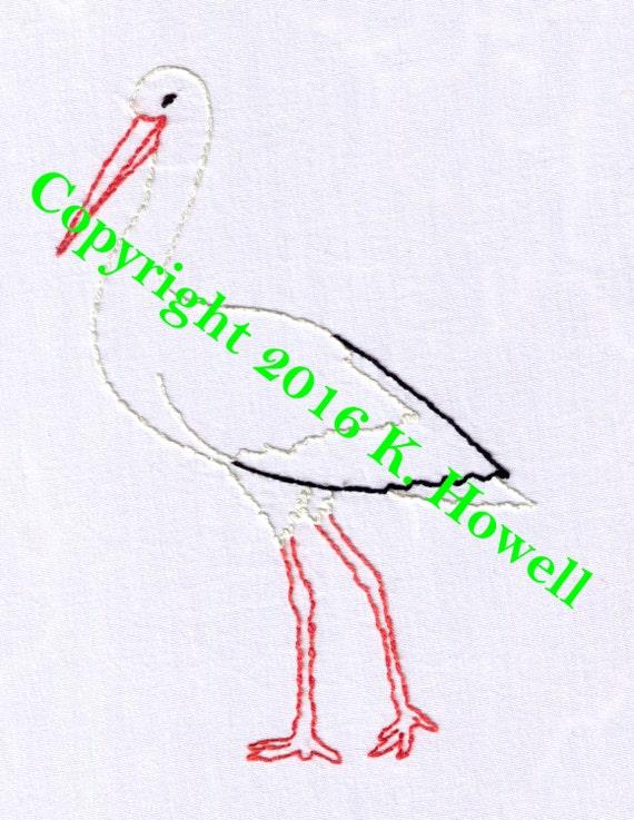 stork hand embroidery pattern bird baby pdf etsy