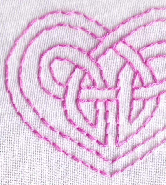 Celtic Knot Hand Embroidery Pattern Pdf Celtic Heart Love Etsy