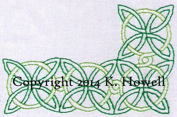 Celtic Knot Hand Embroidery Pattern Large Corner Border Etsy