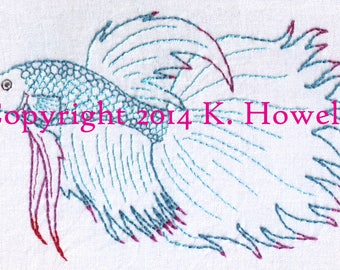 Betta Fish Hand Embroidery Pattern, Betta Max, Pet, Fish, Siamese Fighting Fish, Detailed, PDF