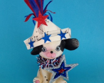 Fourth of July Decoration Vintage Puppy Figurine Patriotic Ornament TVAT