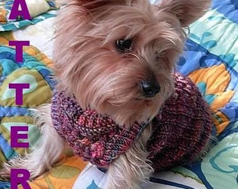 PUFFER Quilted Style Dog Sweater Knitting Pattern -- INTRICATE -- NEW