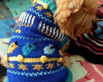 O HANUKKAH Dog Sweater Knitting Pattern Jewish Holiday Chanukah Fair Isle