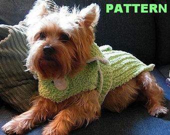 NIGHTY NIGHT Chenille Wrap Dog Bathrobe Knitting Pattern / NEW
