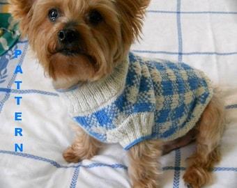 SUNDAY PICNIC Gingham Check Dog Sweater Knitting Pattern