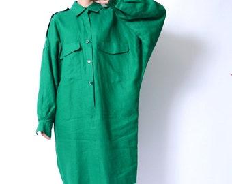80s Oversized Linen Shirt Dress Boxy Extra Long Sleeves Dress  //107