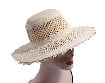 Vintage Open Weave Sun Hat   Woven Straw Beach Hat    Garden Hat   Summer  Vacation Wear   203 170c00171e34