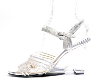 39d2abd72c3 SALE RESERVED Size 8    Vintage 60s Lucite Pumps Silver Clear Plastic Heels    Lucite Heel Sandals   Summer Silver Slingbacks   115