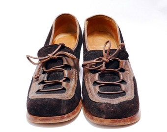36635fb5598 Vintage Brown Suede Loafers    Designer Leather Vintage 80s    Lace up Fall  Fashion Shoes   8B size   156