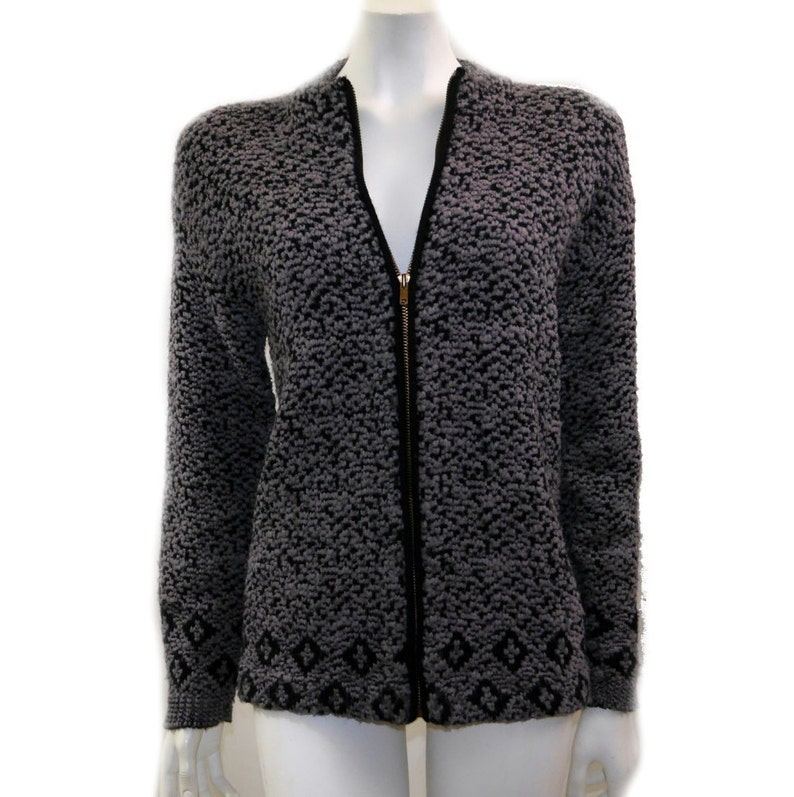 Vintage Bella Lui Sweater Acrylic Sweater  Hipster Winter Sweater   Rockabilly Style Cardigan  Size M 130