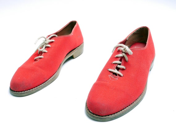 Vintage Red Canvas Shoes// Casual Women's Shoes//