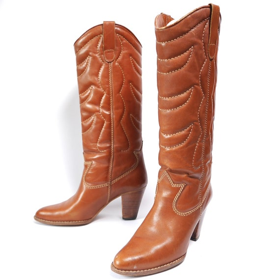 Vintage Quilted Cowboy Boots // Caramel Leather Bo