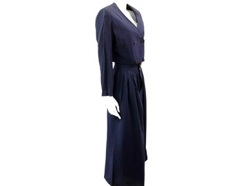 High Waist Palazzo Pant Suit // Cropped Jacket Set// Navy Blue Two Piece Set Button Up Jacket + Matching Pants// Size S// 142