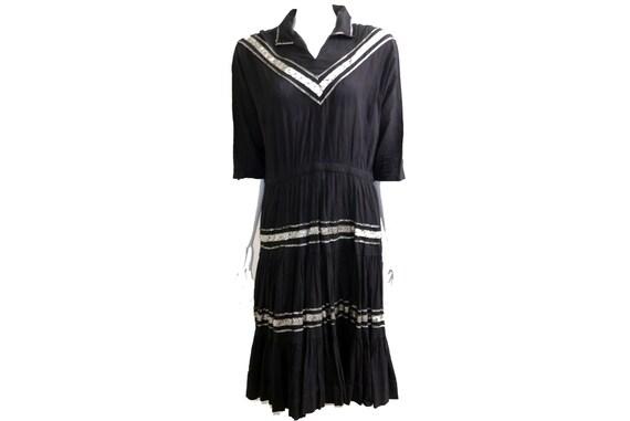 Vintage 50s Black Gauze Dress with Silver Details/