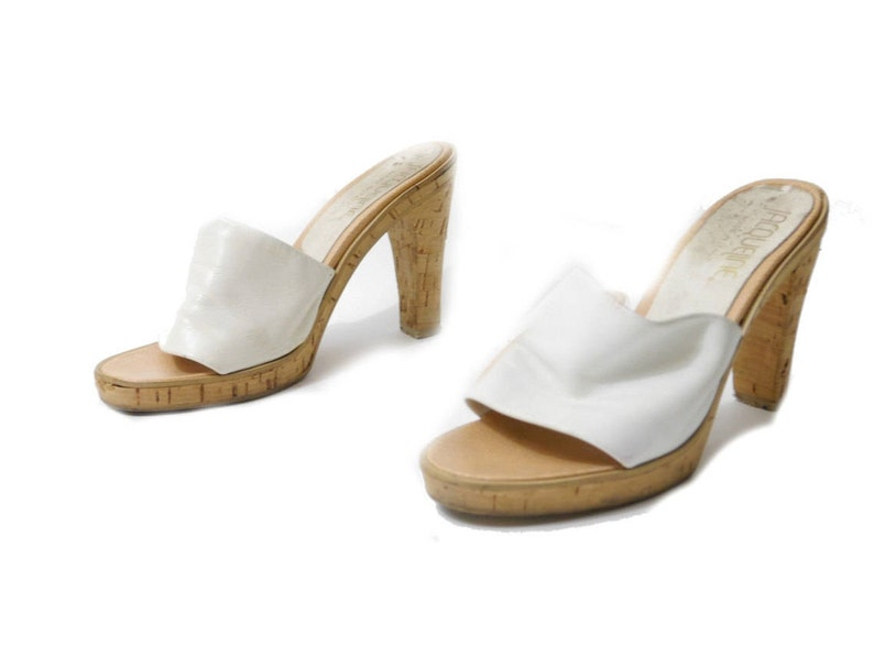 af514cd35f8 Vintage Cork Mules    Made in Italy White Leather Sandals