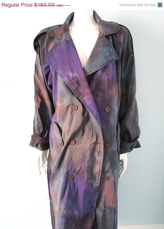 On Layway For Diane 2 Of 2 Vintage Ombre Avant Garde Trench Coat Water Color M by Etsy