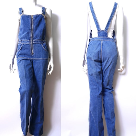 Vintage Bib Overalls Demin 1970s Straight Leg Blue