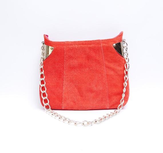 Vintage 60s Red Orange Suede Handbag// Brass Accen