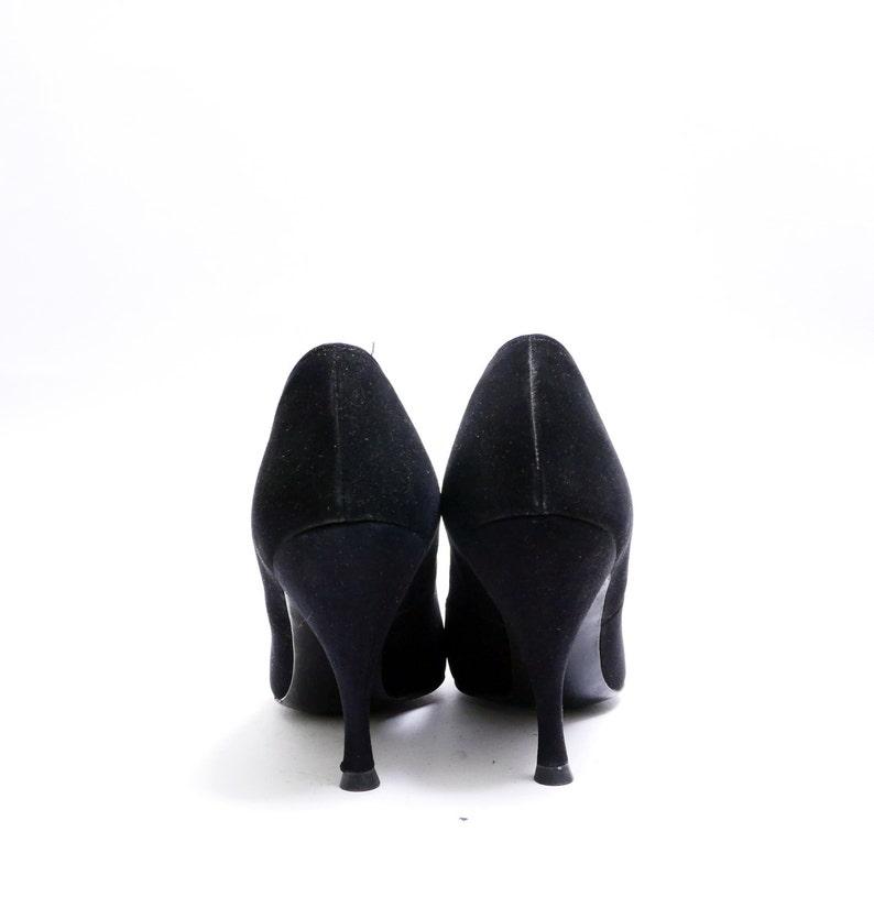 ba34d8cfc3733 On Sale Size 8-8 1/2// Vintage 50s Black Suede Pumps // Woven Satin and Bow  Detail / Black Suede Pumps with Satin Details// 117