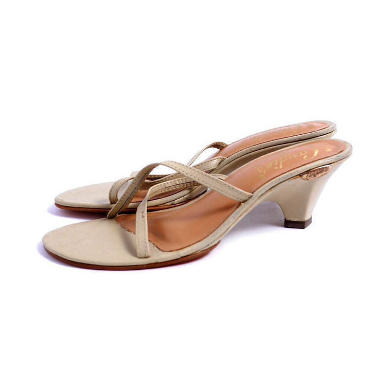 1b1e725455477 Size 6.5 7 // Minimal Strappy Sandals Vintage Candie's Kitten Heel Mules//  Open Toe Strappy Sandals// Summer Mules// 210