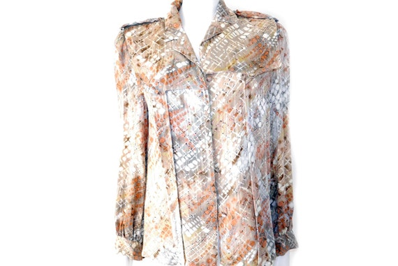 f78536ef8b8b3 Vintage Silk Trench Blouse Graphic Print Blouse Francesca of
