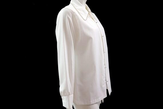 e37b8687e89a9 30% Vintage 80s Rhinestone White Blouse    Understated
