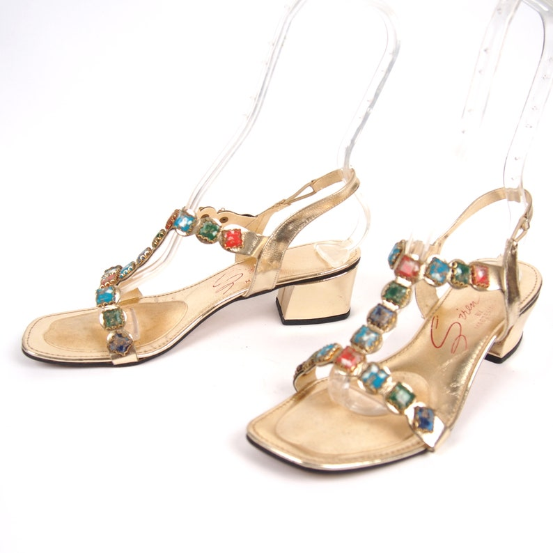 70b4c1a66b552 Size 8 Vintage 60s Jewel Gladiator Sandals // T-Strap Sandal // Bombshell  Sandals // Mod Scooter Hippie Chic // 103
